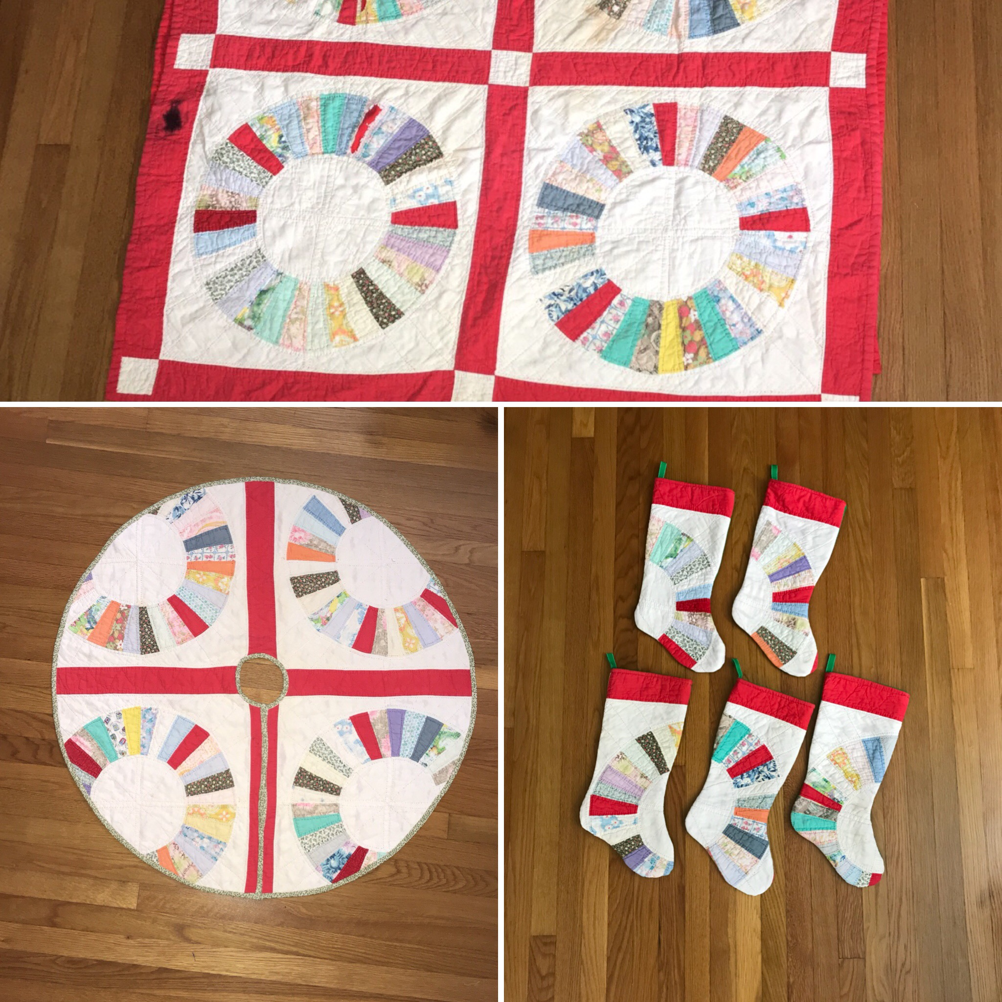 old quilt made into Christmas Decor