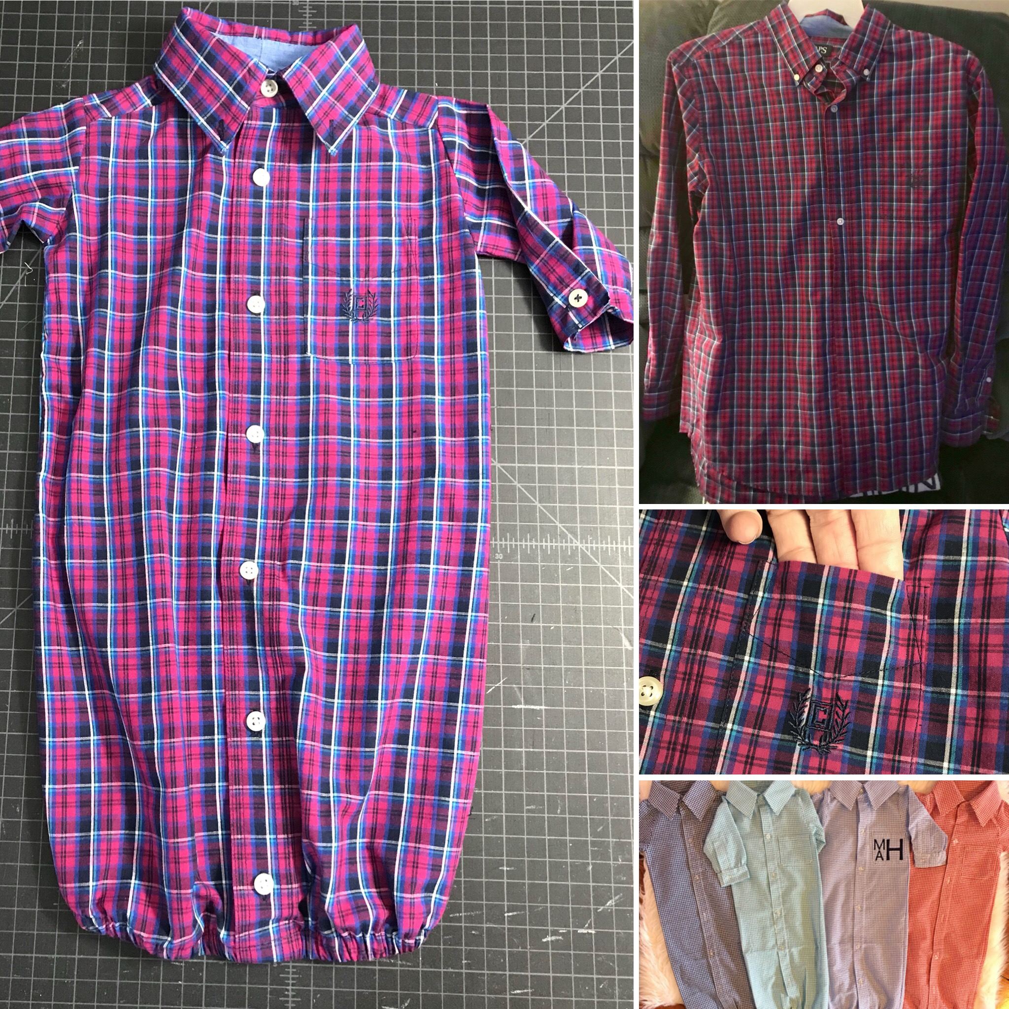 mens button ups into onesies