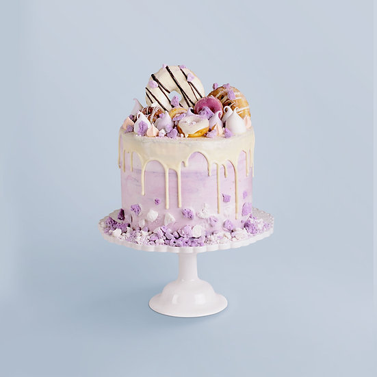 Lilac Ombre Donut & Meringue Drip Cake