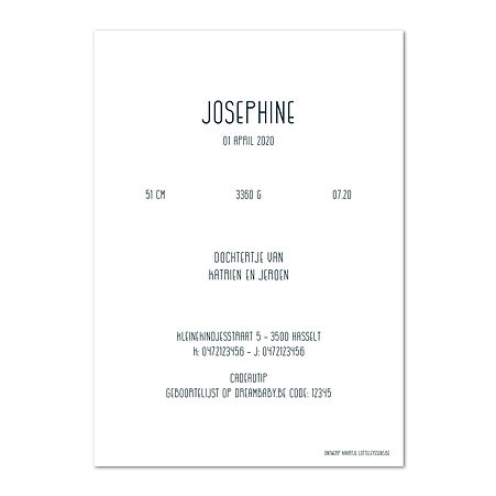 Josephine Thumb kaart enkel verticaal 2.