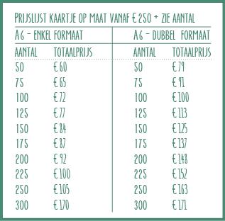 prijslijst kaartjes op maat A6 enkel en