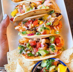 Shrimp Tacos with Grilled Pineapples & Mango Salsa