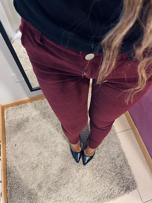 Pantalone velluto Bordeaux
