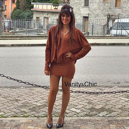dress glitter bronzo