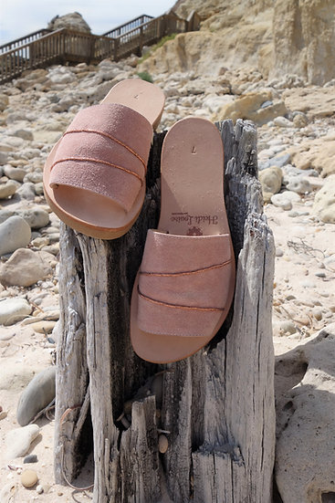 Soft Rose Suede Slide with Rose Gold feature, Average/Narrow or Wide Fitting