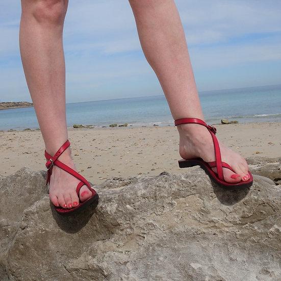Venus Sandal - Adjustable Leather Sandal, Red