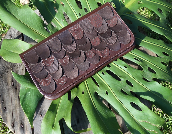 Brown Leather Clutch Handmade, Fish Scale Pattern, magnetic clasp, zip pocket