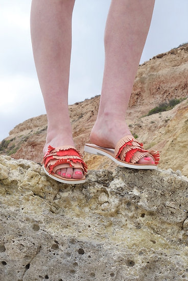 Tassel Slide Sandal, Natural Leather with Tangerine