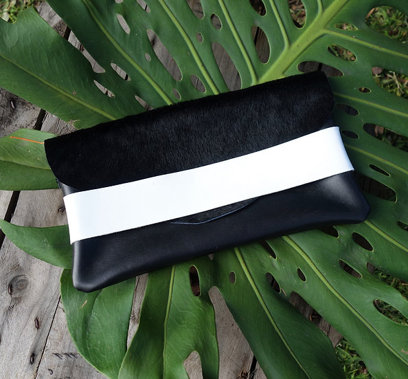 Leather Clutch with Fur Flap and white strap