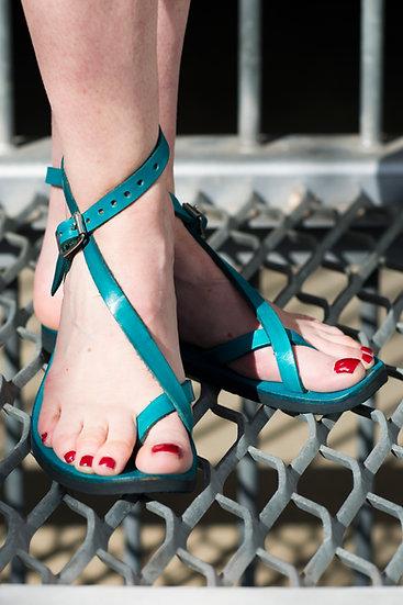 Turquoise Leather Adjustable Sandal