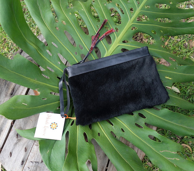 Black Fur Leather Clutch with Snake skin tassel