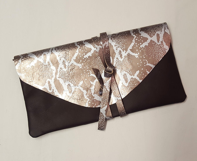 Leather Clutch with Large Flap and Tie