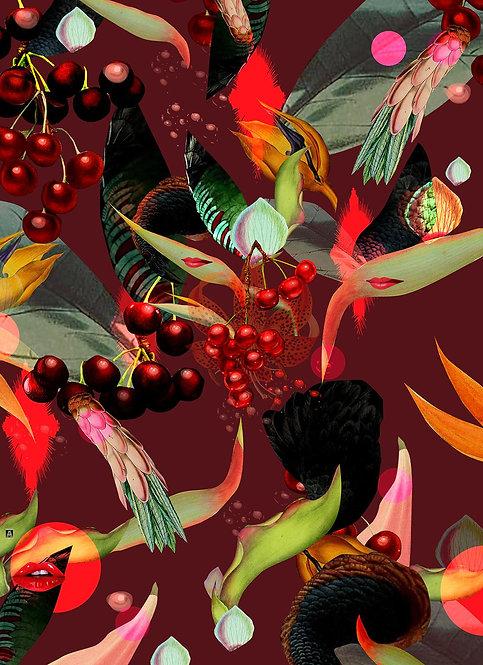 Cherries sweating on wine background