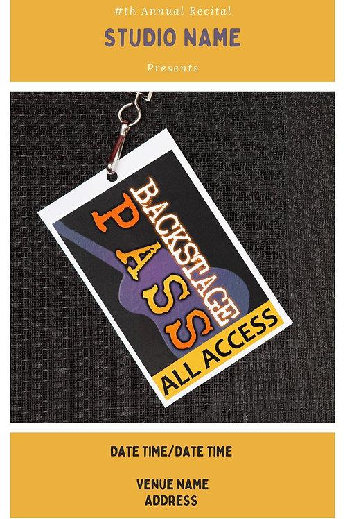 Backstage Pass Program Book Template