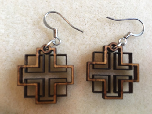 Small Holden Cross (Delicate) Wooden Dangle Earrings
