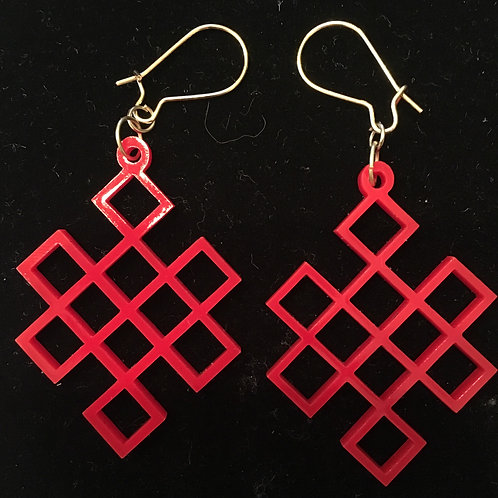 Red Acrylic Endless Knot Earrings