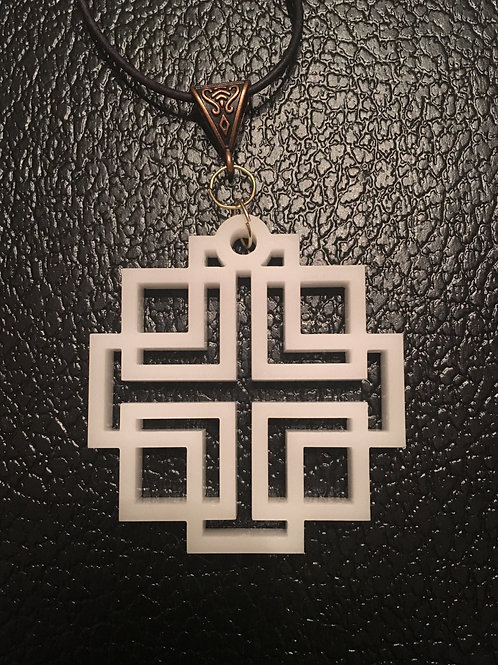Large White Acrylic Holden Cross Necklace