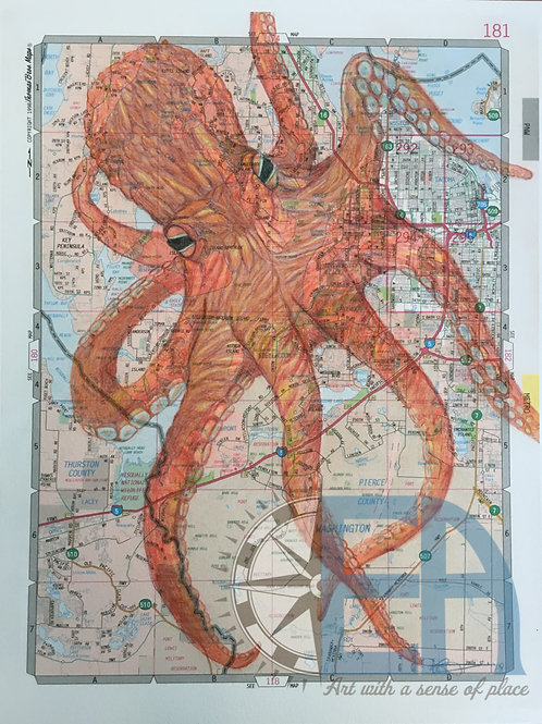 Tacoma Giant Pacific Octopus Giclee Print