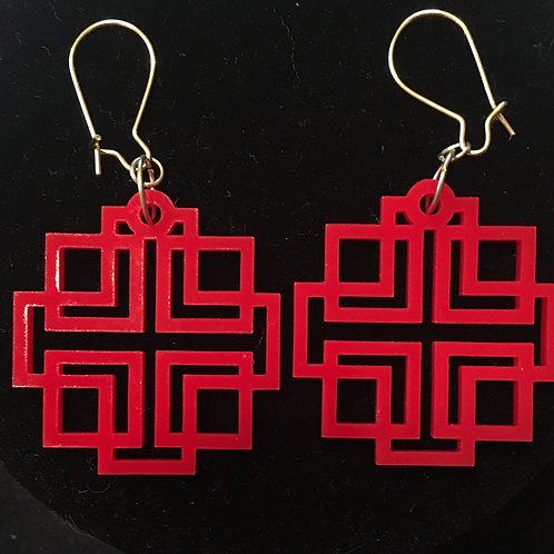 Red Holden Cross Earrings - Hooked Earwires