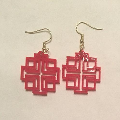 Red Acrylic Holden Cross Earrings - Medium
