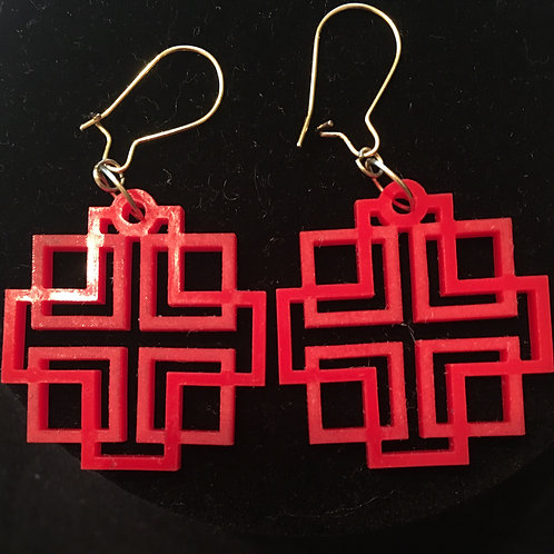 Holden Cross Red Acrylic Etched Earrings