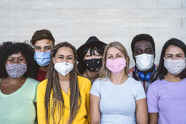 Group young people wearing face mask for