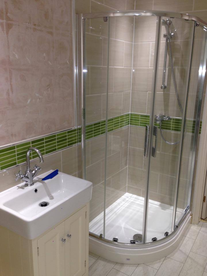 Corner shower unit and sink