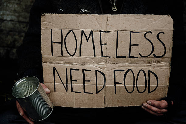 "cardboard sign: ""homeless need food"""