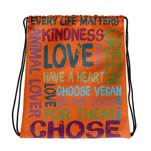 Every Life Matters / Orange / Drawstring Bag