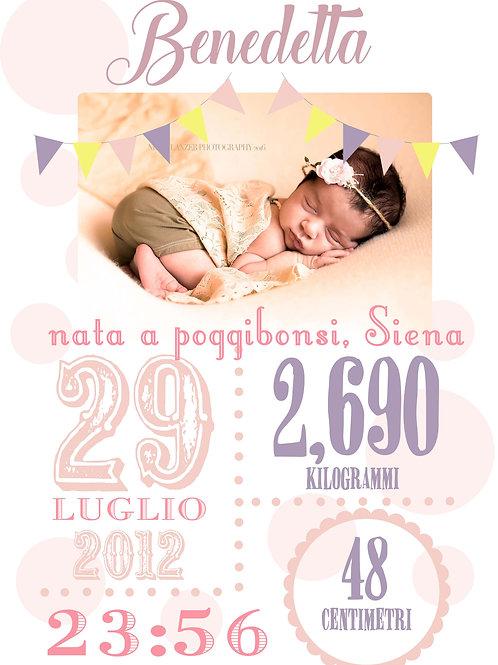 Poster A3 grafica personalizzata Nascita con Foto