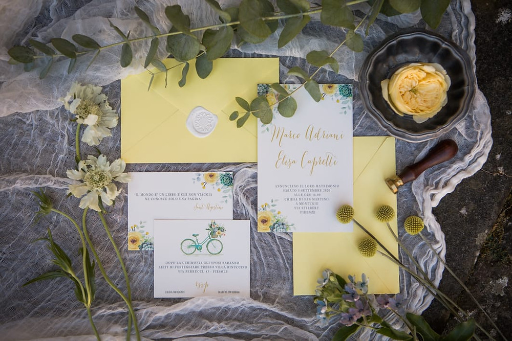 Wedding stationery boho chic flower and succulents watercolor