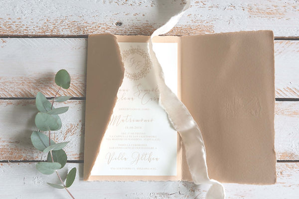 Partecipazione invito carta amalfitana busta amalfi color cipria invito matrimonio