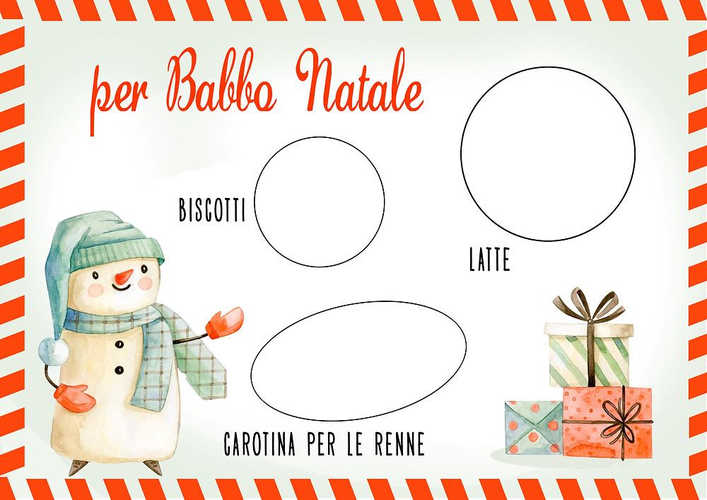 Tovaglietta Babbo Natale: biscotti, latte, carotina per le renne