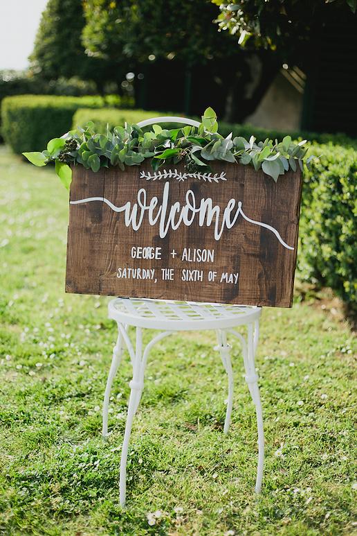 Welcome signage hand painted calligrafia dipinto a mano matrimonio tavola in legno