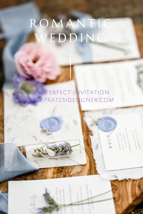 Envelops cotton paper with flower for romantic wedding invitation