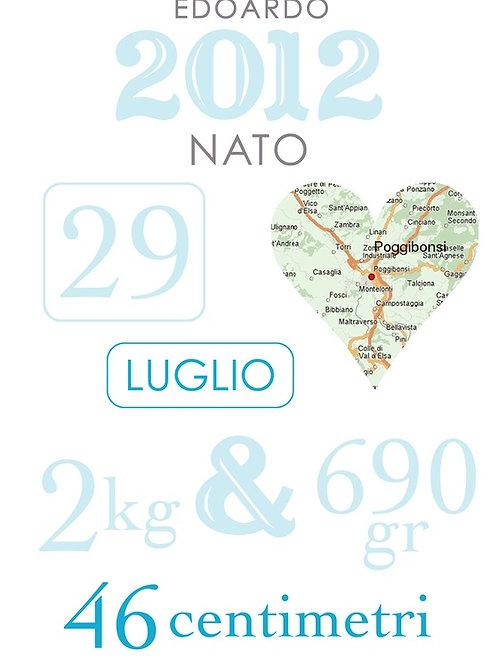 Poster A3 grafica personalizzata Nascita