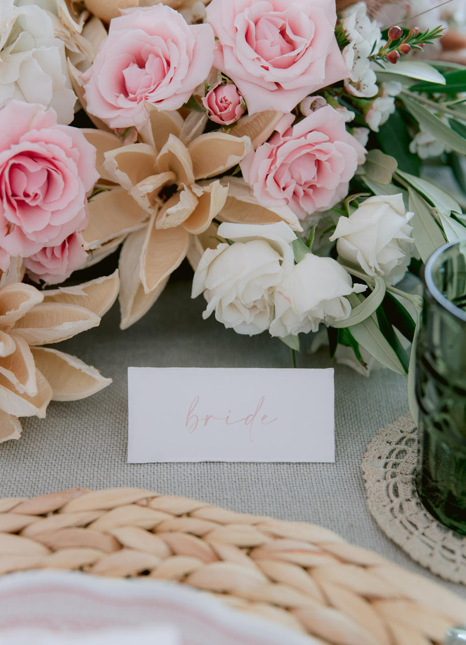 Bride placement card Tuscany wedding