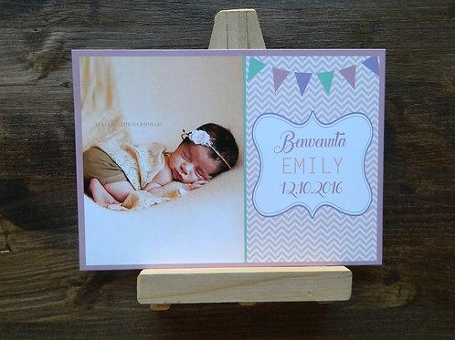 Set 15 cartoline nascita personalizzate formato 12x18 cm