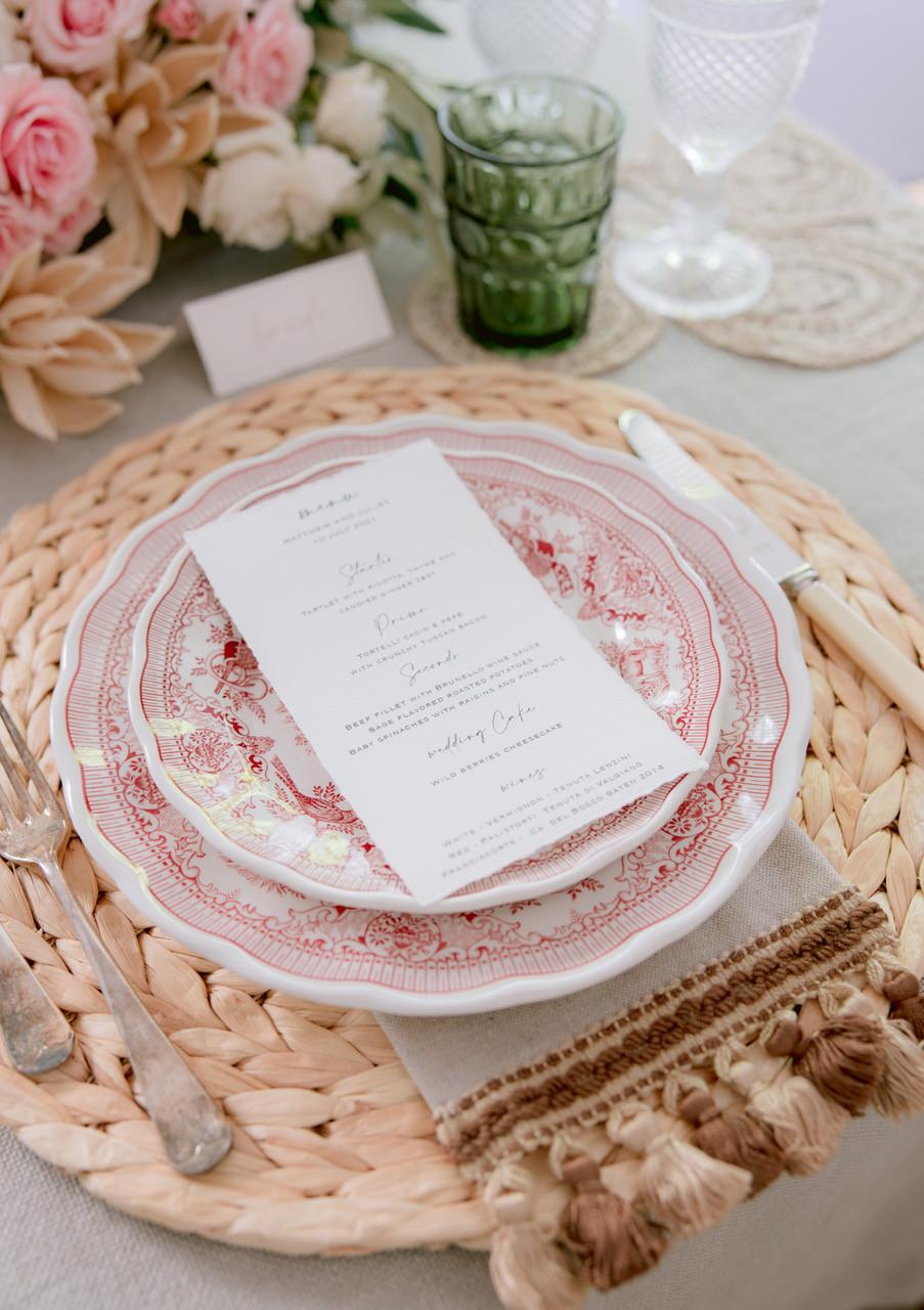 Menu wedding table in Tuscany