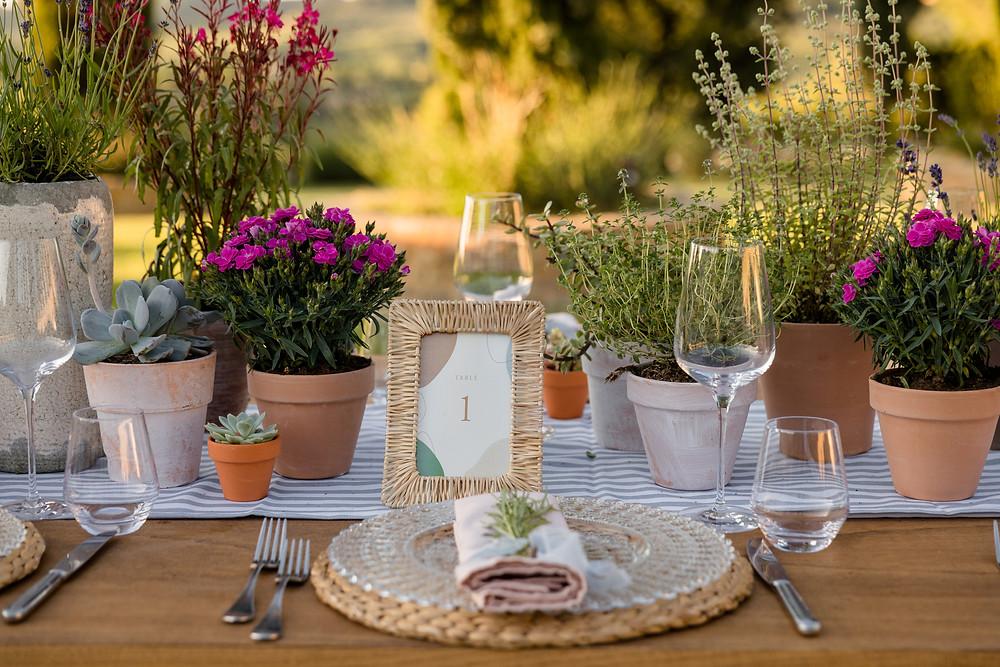 Tavola matrimonio rustic chic in Toscana terracotta e piante grasse