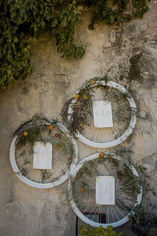 Tableau de mariage con ruote di bicicletta