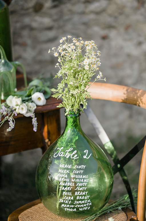 TABLEAU DE MARIAGE VINTAGE BOTTLE - WEDDING TABLE SETTING