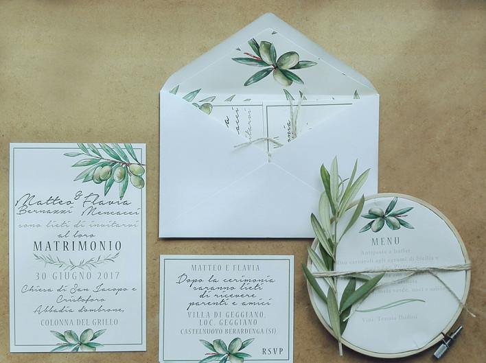 partecipazione matrimonio olivo