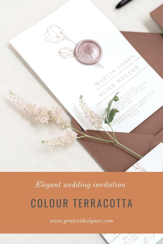 partecipazioni matrimonio terracotta ceralacca wedding invitation tuscany rustic chic