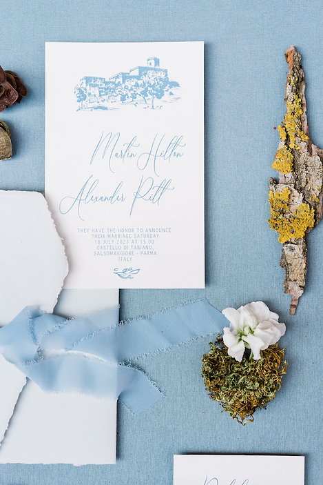 partecipazione matrimonio busta amalfi cerlacca dusty Blue