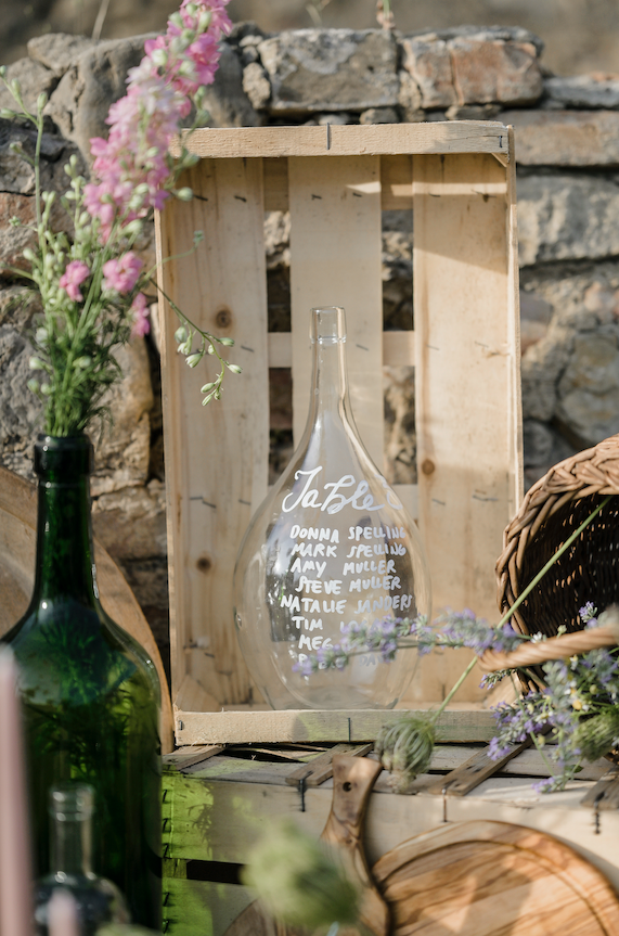 Tableau de mariage vintage bottle - table setting