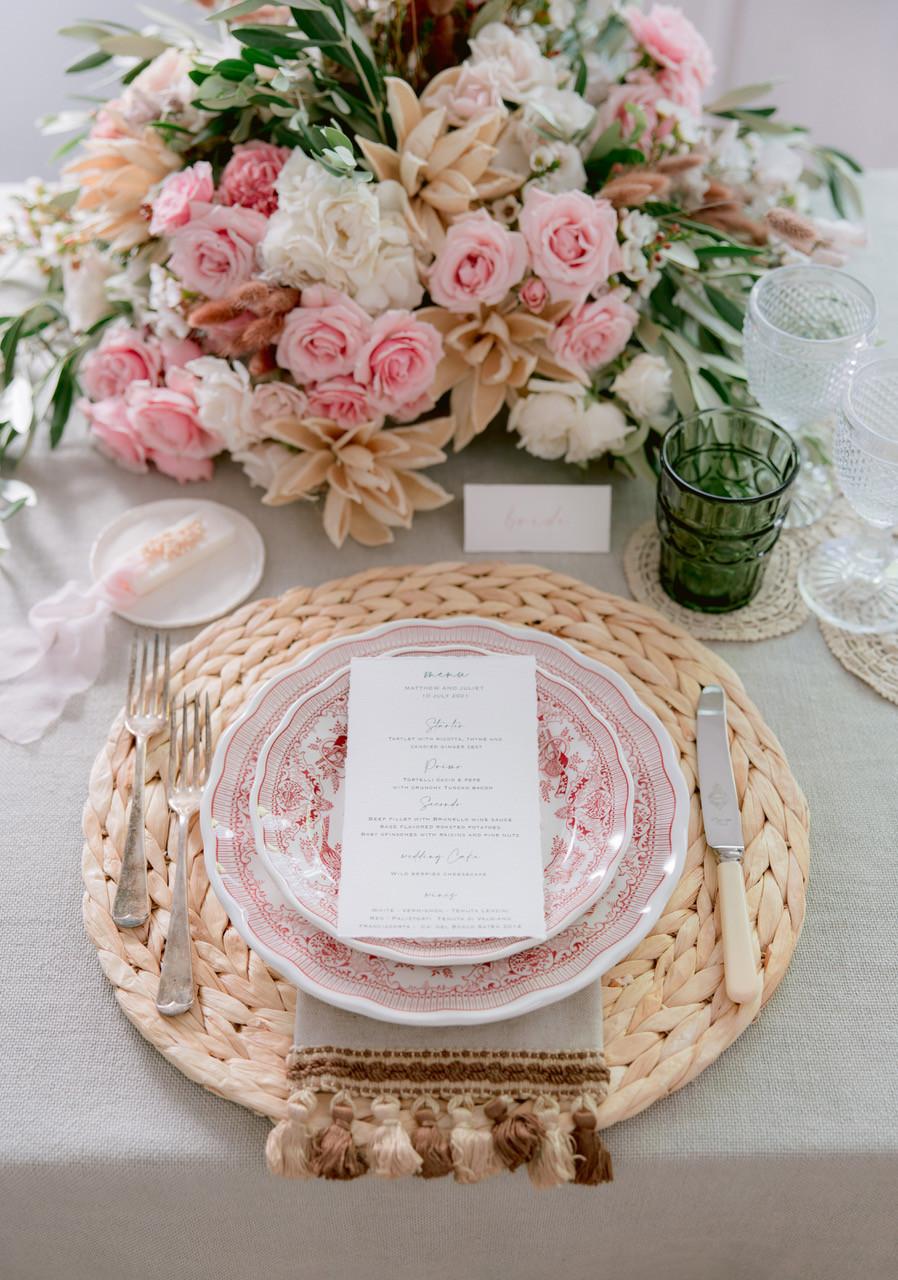 Tuscany wedding table mise en place