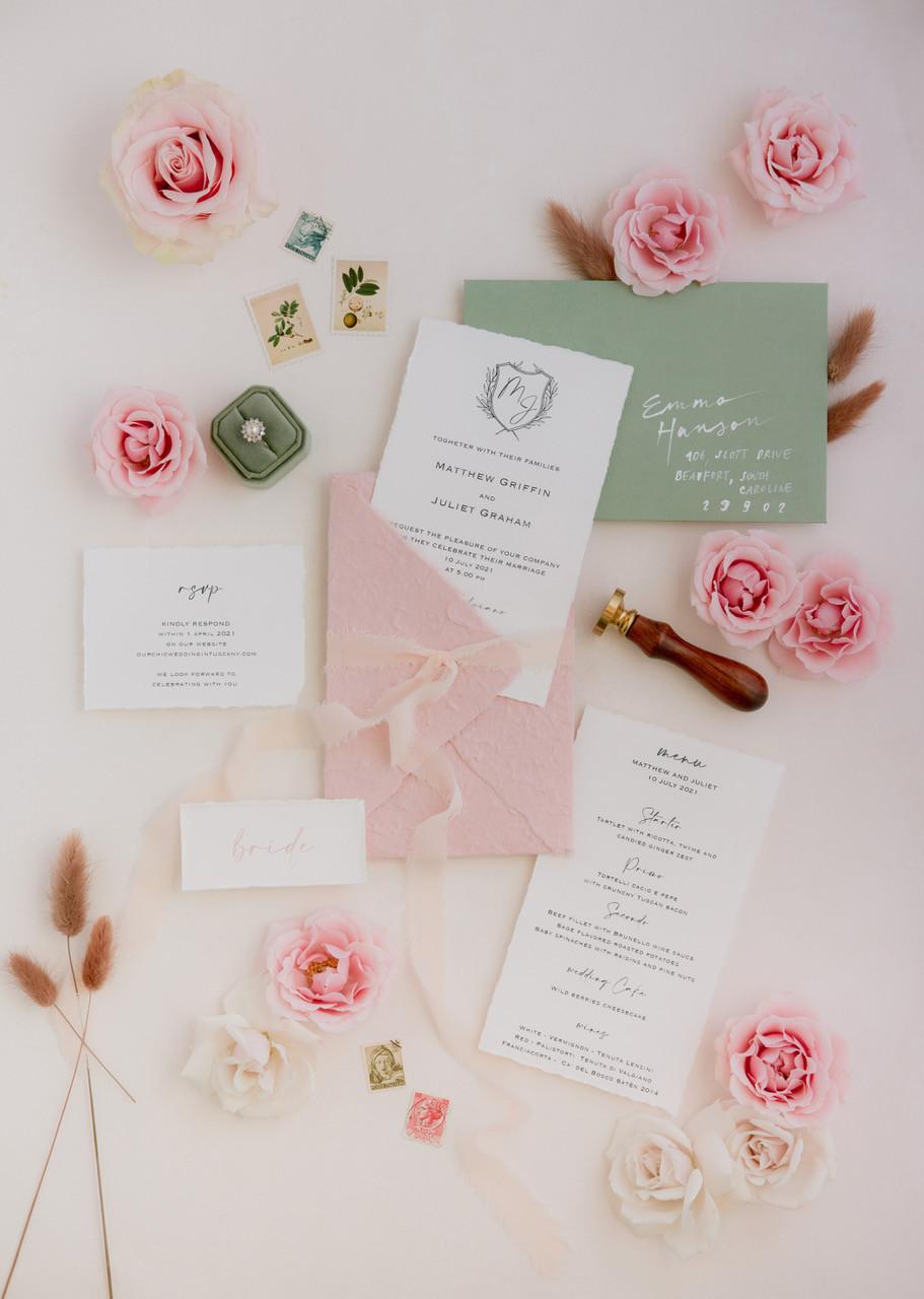 Tuscany wedding stationery