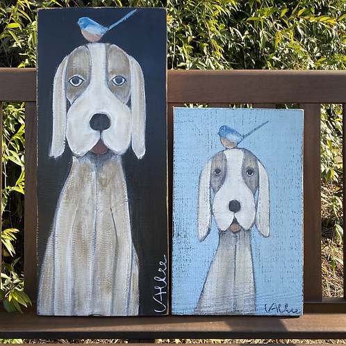 Doggie on Blue  10x16  FREE SHIPPING