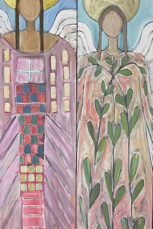 Angel in Dress with Vine (right)  16x60x3